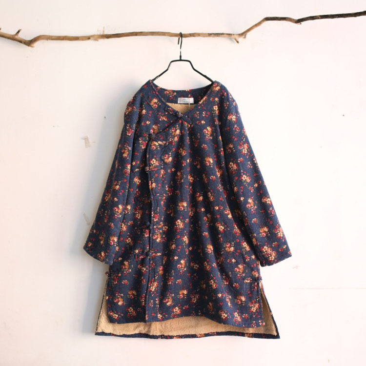 Winter Woolen Retro Delicate Embroidery Cotton Printing Plate Buttons Chinese Classical Style Ladies Flower Thicker Coat