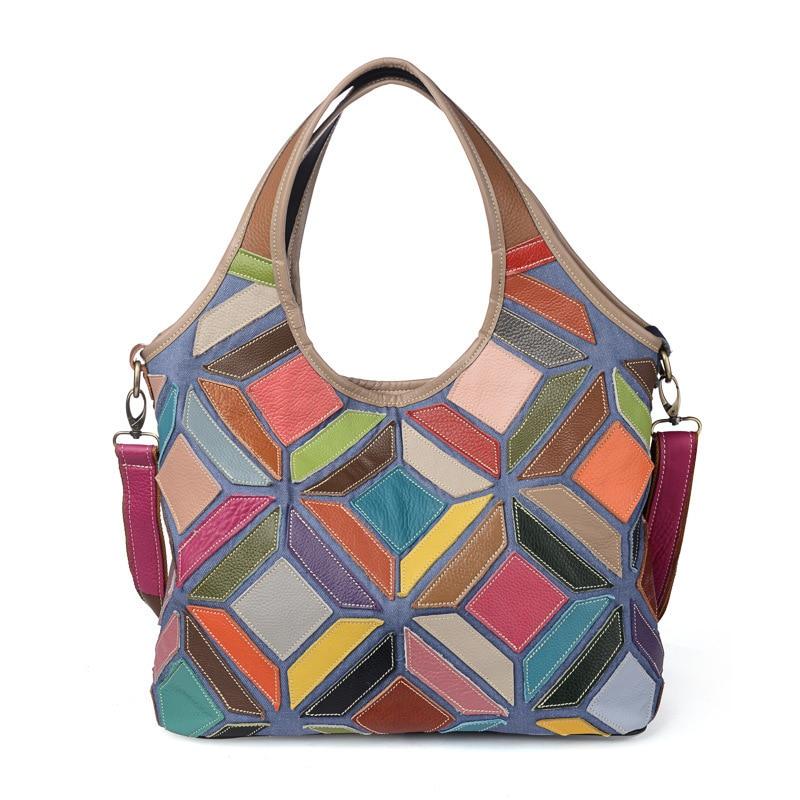 2018 Genuine Leather Women Handbags Luxury Designer Messenger Bags For Ladies Patchwork Hobo Tote Shoulder Bag For Female  ZY13