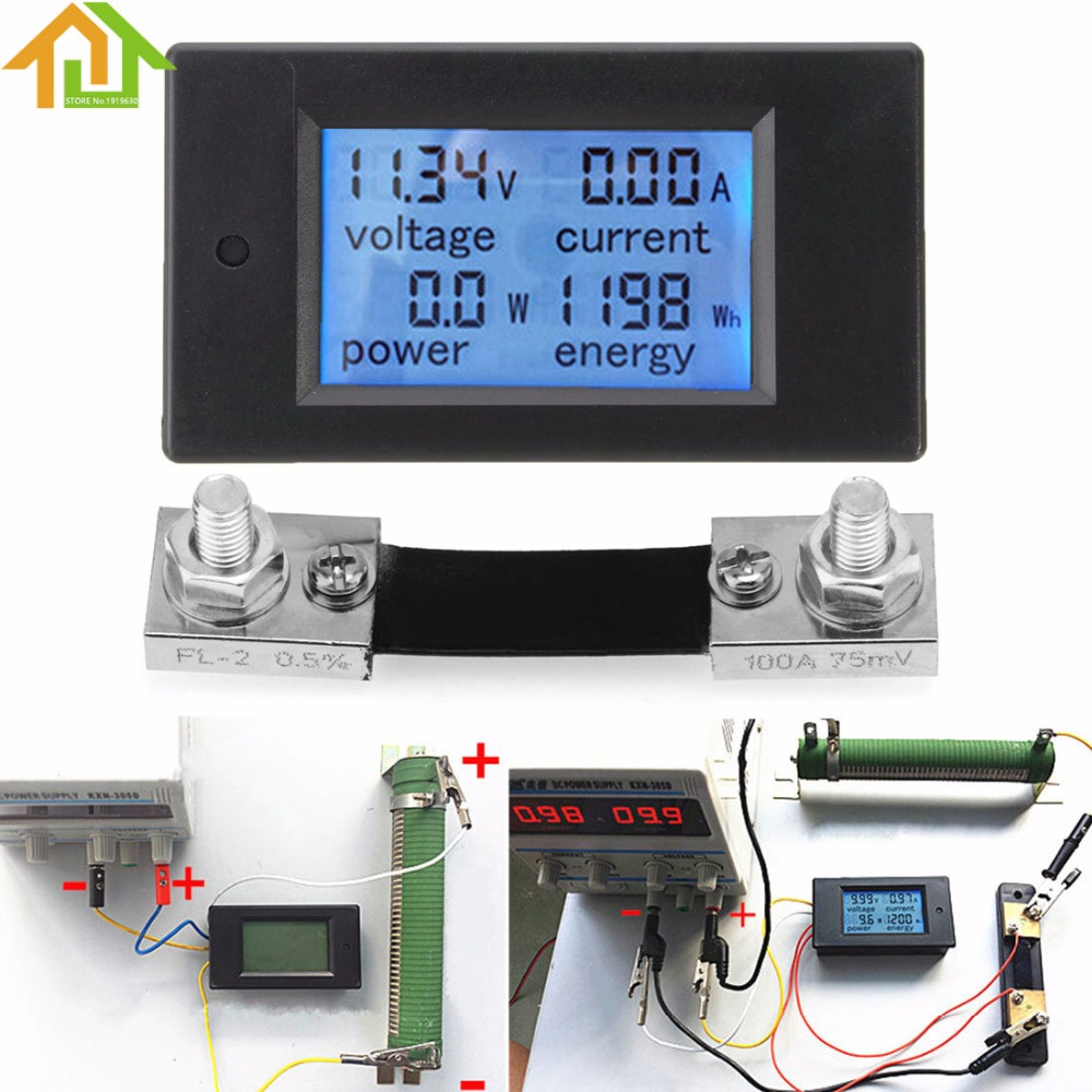 100A DC Digital Multifunction Power <font><b>Meter</b></font> <font><b>Energy</b></font> Monitor Module Voltmeter Ammeter with Shunt