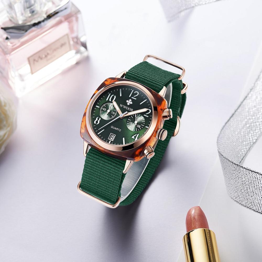 Image 3 - WWOOR Luxury Women Watches Waterproof Business green Nylon Ladies Quartz Relogio Feminino Milan Mesh Band Lady Watch Chronograph-in Women's Watches from Watches