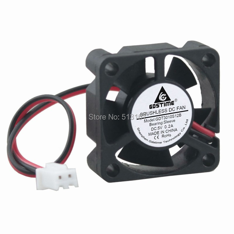 Купить с кэшбэком 5pcs Gdstime Small Brushless DC Cooling Fan 5V 30mm 30x30x10mm 2Pin 5 Blades