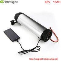 Li ion Battery Pack 48V 15AH 750w Ebike Bottle Battery with 5V USB Port use Samsung cell fit 48v bafang 8fun 750w bbs02 motor