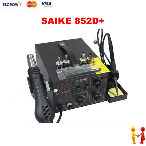 New SAIKE 852D+ 220V Iron Solder, Soldering Hot Air Gun 2 in 1 Rework Station dhl free saike 852d iron solder soldering hot air gun 2 in 1 rework station 220v 110v many gifts