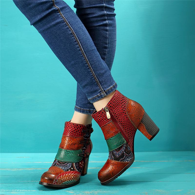 Socofy Vintage Splicing Printed Ankle Boots For Women Shoes Woman Genuine Leather Retro Block High Heels Women Boots 2019 New 5