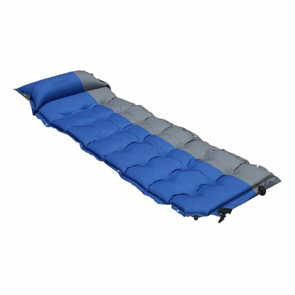 Automático que infla rollo cama de dormir almohada inflable colchón + Bag Camping Picnic Pad estera de la playa colchón de aire