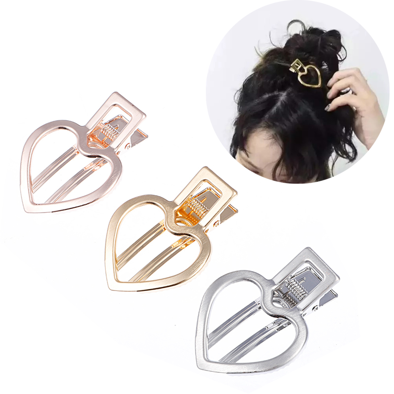 M MISM Girls Simple Vintage Love Heart Alloy Hair Clips Korea Style Fashion Lattice Geometric Hollow Out Hair Clamps Accessories