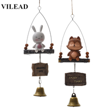 Kids Room Decoration Resin Wolf Rabbit Wind Chimes Animal Door Hanging Ornaments Bell Girl Decor Nordic Home Windchimes