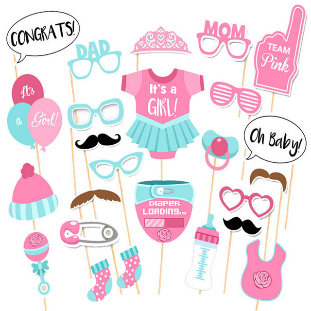 photo booth baby shower decorations diy its a girl photobooth props