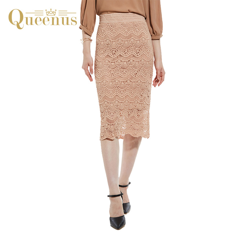 Queenus 2017 Women Lace Skirt Fashion Straight Hollow Lace Skirts Patchwork Black Khaki Women Empire Skirts Free Shipping ...