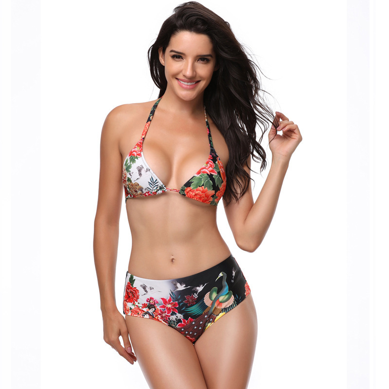 Bikini Swimwear 2018 Sexy Swimwear Women Swimsuit High Waisted Bathing Suit Two Piece Plus Size Swimwear Beachwear Size S~XXL sexy round neck high waisted leopard print two piece women s swimsuit