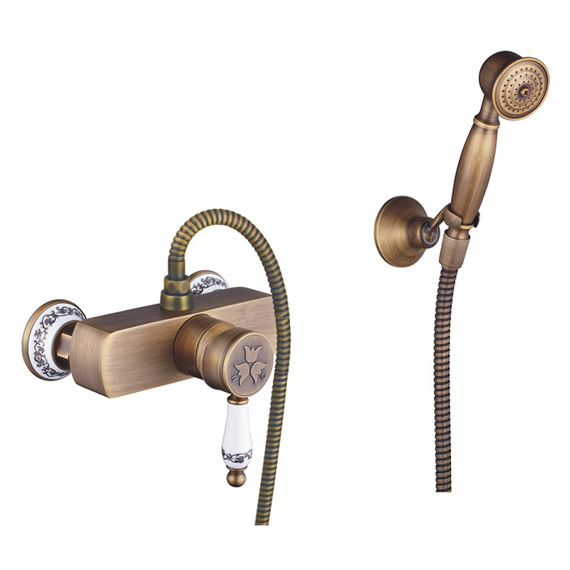 Free Shipping New Arrival Shower Faucets With Ceramic Mixer Tap Antique Brass Bath Shower Faucet Set Bathtub Faucet WF-916
