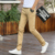 Calças dos homens Magro cor Sólida Algodão Macho Mid Cintura Reta Calça Casual Calças/Calças Pantalones Hombre MQ460
