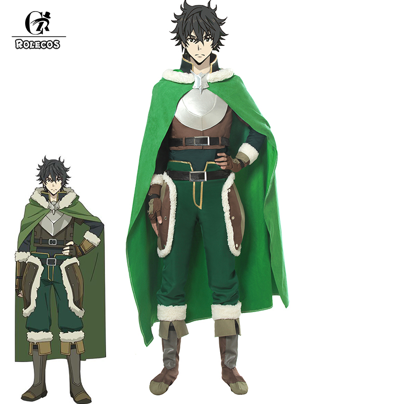 ROLECOS Anime Tate No Yunnsha No Nariagari Cosplay Costumes Naofumi Iwatani Costumes With Green Cloak For Men Costume Full Sets