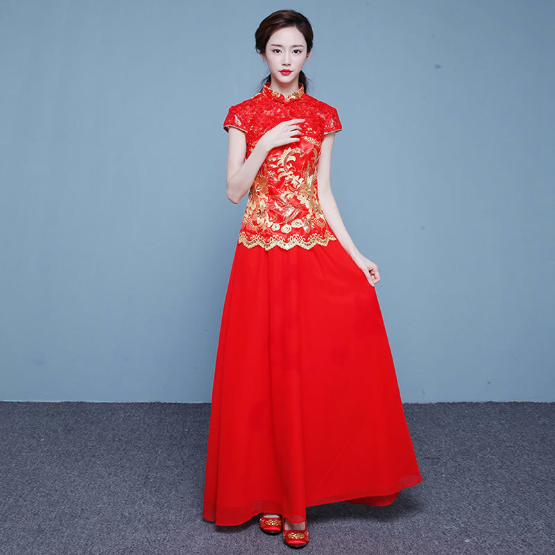 Red Traditional Chinese Wedding Gown Serve Bride 2017 New Long ...