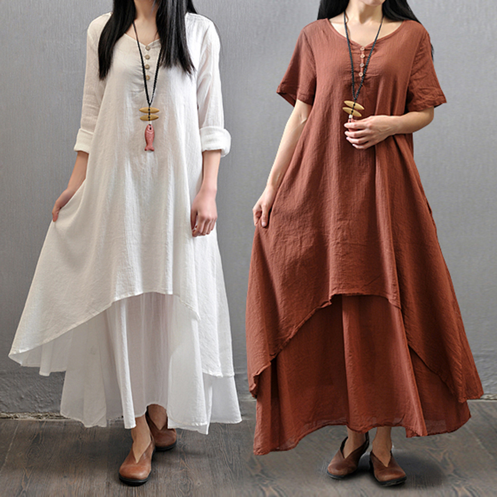 4bc93a602a6 Big Size Maxi Dress Summer Red White Short Sleeve Two Piece Cotton Linen  Dresses Plus Size Loose Boho Dress Robe 4XL 5XL -in Dresses from Women s  Clothing ...