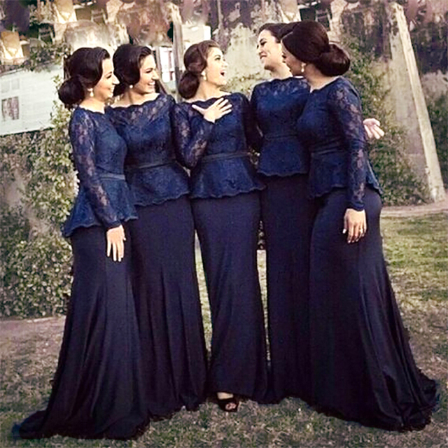 Elegante Azul Marino Oscuro Azul de La Sirena Vestidos de Dama de Largo Vestido  de dama 050bcb6454ac