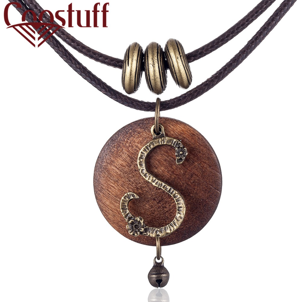 2018 Wholesale chokers Woman Necklaces vintage Jewelry Letter S Wooden pendant Long necklace for women collares mujer kolye ...