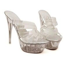 Schuhe Frau Plattform Sandalen Sommer Transparente Glas Rutschen Wasserdichte 14 cm Nachtclub Sexy Schuhe mit hohen absätzen Plus-größe 35-43