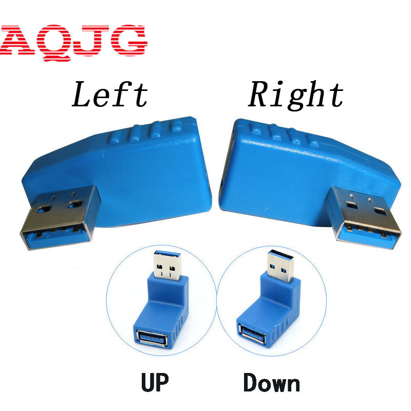Usb 3.0 Connector Right + Left angle 90 degree Converter  USB 3.0 Type A Male to Female Plug  Adapter Converter Wholesale  AQJG best price portable usb 2 0 type a male to usb type b female plug extend printer adapter converter new arrival for