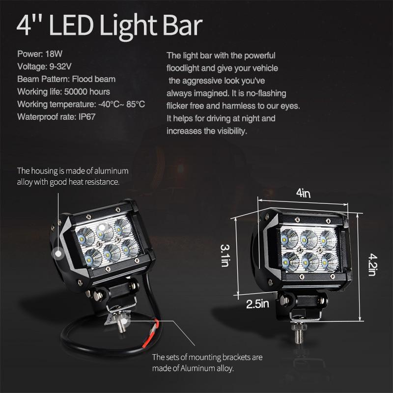 52 Inch 300W LED Light Bar Kit 4 LED Work Light Windshield Mount Bracket with Wireless Control For JEEP Wrangler JK 07 15 - 6