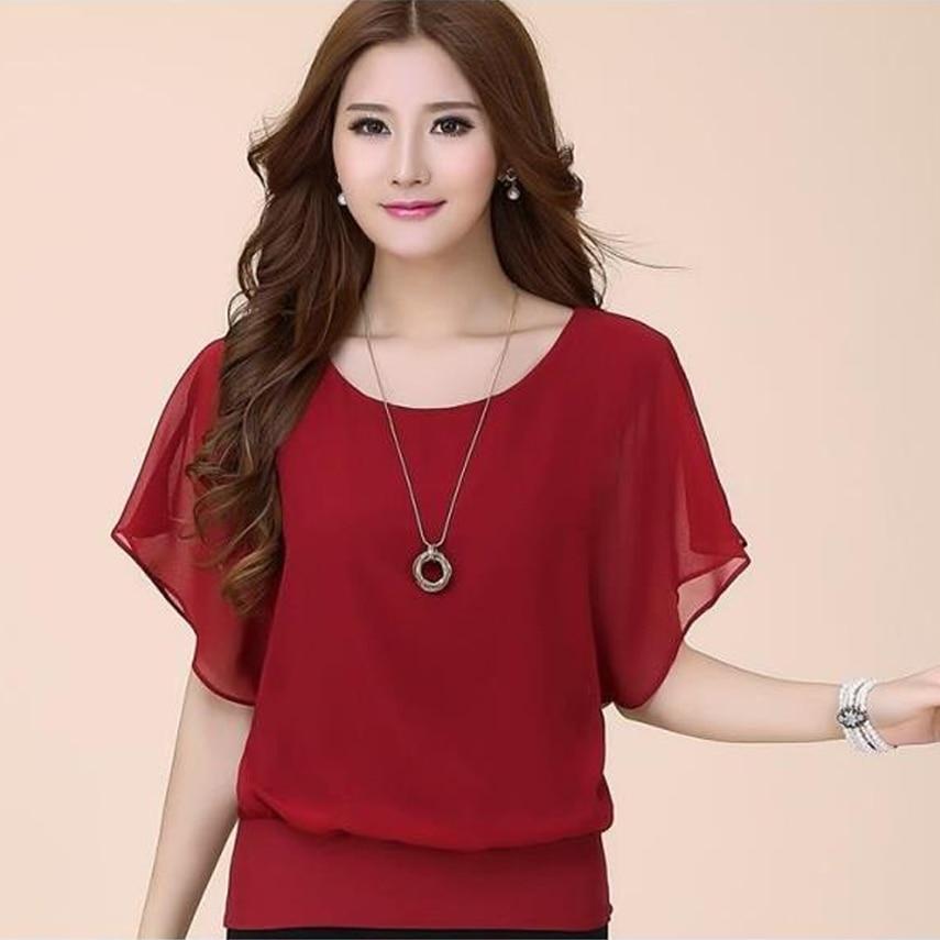 Women Blouse 2020 Summer Casual Plus Size Women Tops Fashion Chiffon Blouse Bat Sleeve Shirt Slim Blusa Feminina ladies blouses