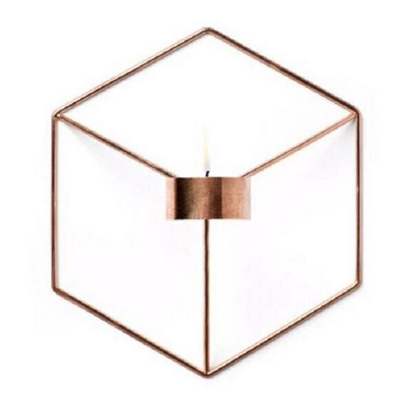 New Visual Touch Nordic Style 3D Geometric Candlestick Metal Wall Candle Holder Sconce M ...