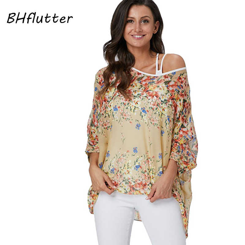 BHflutter-chemisier pour femmes, grande taille, nouveau Style chauve-souris, été 2019, Boho, en mousseline de soie, collection décontracté