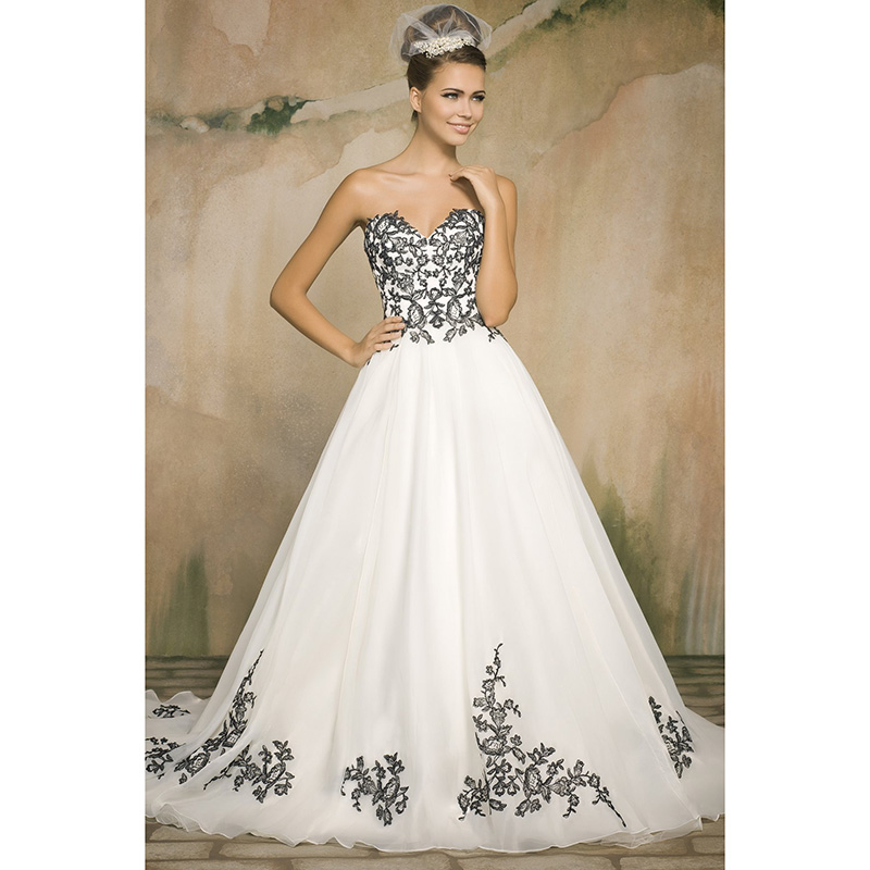 White Organza Black Lace Wedding Dresses With Appliques