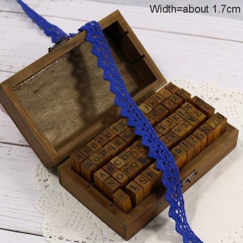 Zakka Стиль хлопковая кружевная лента швейная лента, бежевая Кружевная Сетка, крутая кружевная тесьма(17 мм x 50 ярдов - Цвет: Dark blue