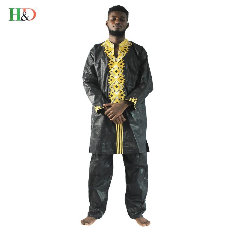H & d الرجال الملابس الأفريقية 2018 موضة جديدة رجل الدعاوى أبلى الأفريقية بازان الثراء التطريز الرجال قميص مع بنطلون