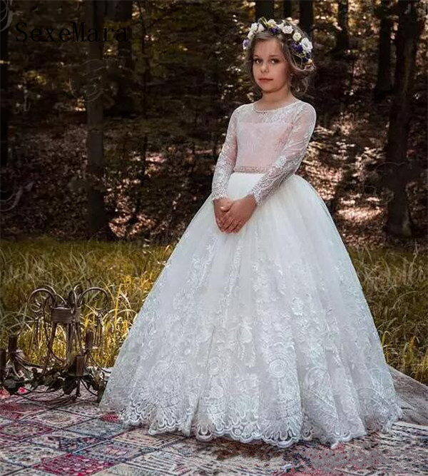 Long Sleeves Flower Girls Dresses With Lace Appliques Beads Bow Sheer Neckline Girl Pageant Dress Birthday Kids Communion Gown все цены