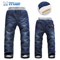 De alta calidad de invierno gruesa cachemir cálido pantalones vaqueros de los niños del bebé pantalones de los Muchachos de los niños