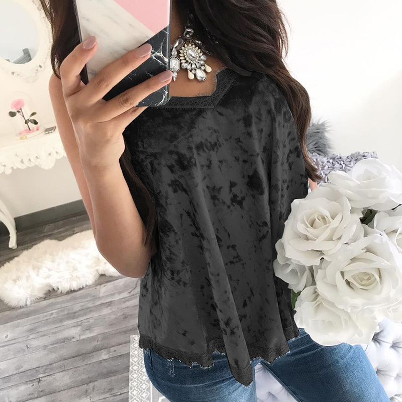 New Summer Lace   Blouses     Shirts   Sleeveless V Neck Casual   Shirts   Top ClubNight Party Female Mujer Blusas Top SJ883R