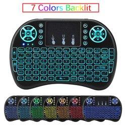 Original Normal y retroiluminado i8 Mini teclado inalámbrico ratón de aire con ruso inglés francés español para Android TV BOX PC ordenador portátil