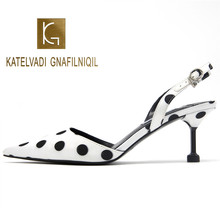 KATELVADI White Fashion Sandals 6CM High Heels Satin Polka Dot Womens Party Shoes Summer Wedding K-352