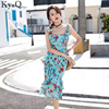 Ky Q 2017 Summer Sexy Long Slip Dress Women Floral Print Lace Up Backless Female Girl