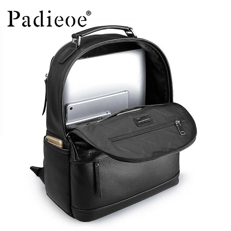 Padieoe роскошный мужской рюкзак из натуральной коровьей кожи, прочный кожаный большой рюкзак, модные однотонные черные мужские школьные рюкз... - 5