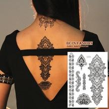 1piece Wedding Bride Makeup Paint Taty Lace Brown Black Henna Fake Flash Tattoo Tatuagem Temporaria Fake Tattoos Paste J016B