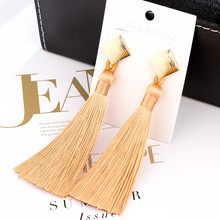 L&H Handmade Long Statement Tassel Earrings Bohemia Vintage Brown Red Black Silk Fringe Drop For Women Fashion Jewelry