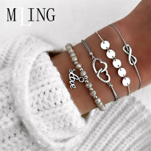 MLING 4 Pcs/Set Bohemian Double Heart Love Letter 8 Word Pendant Bracelet For Women & Bangles Charm Female Jewelry