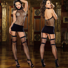 New Porn Womens Lingerie And Exotic Dress Black Transparent Fishnet Teddy Sexy Nightwear Halter Hollow Office Lady Sexy Uniform