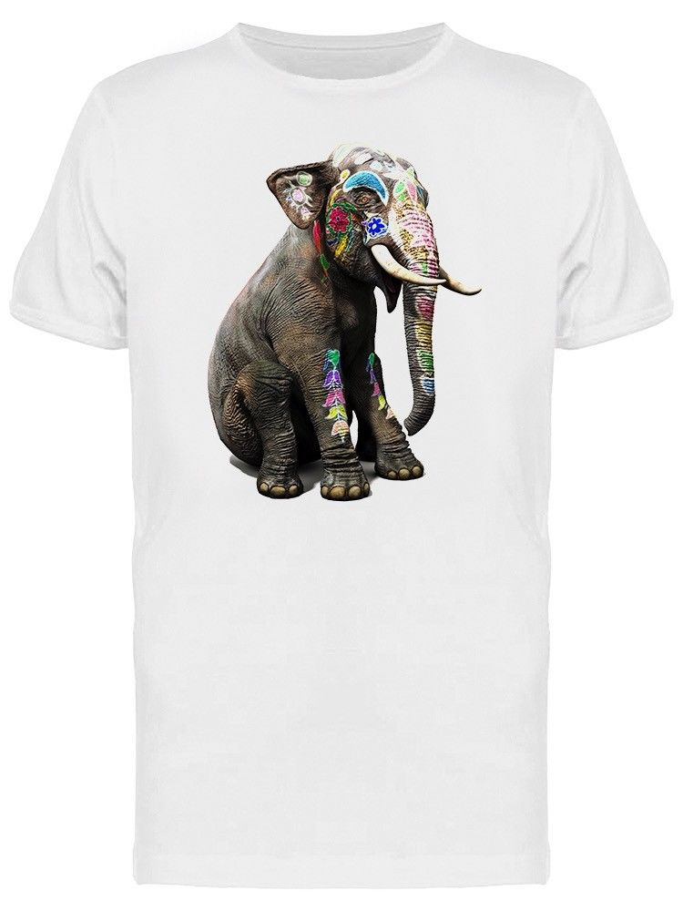 Baby Elephant With Tribal Paint Men's Tee -Image by ShutterstockCool Casual pride t shirt men Unisex Fashion tshirt free