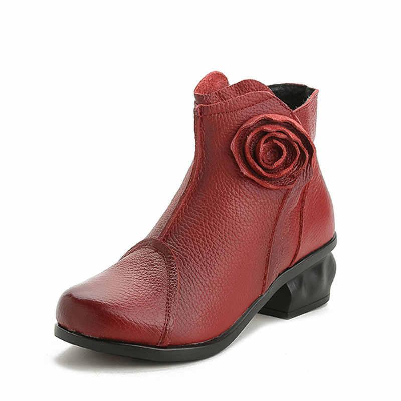 Xiuteng Yüksek Kaliteli Mujer Chaussure Kadın Hakiki Deri Çizmeler Rahat Bayan Pompa Ayakkabı Kış Çizmeler Peluş Kar Botları Kadın
