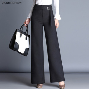 High Waisted Wide Leg Pants Women Spring Autumn Metal Buckle Sashes Elegant Office Ladies Black Pants Trousers Palazzo Pants