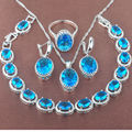 Egg Desig Blue Sky Stone  Zirconia 925 Sterling Silver Jewelry Sets Necklace Pendant Earrings Rings Bracelet Free Shipping JQ008