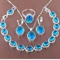 Huevo Desig Azul Cielo Piedra Zirconia 925 Sistemas de La Joyería Collar Colgante Pendientes Anillos Pulsera Envío Gratis JQ008