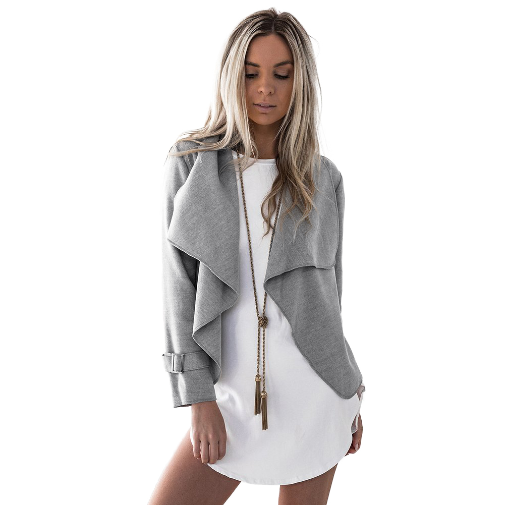 Women Short Coat Cardigan Turn-down Collar Open Front Long Sleeves   Jacket   Outwear Casual Overcoats Fashion Autumn   Basic     Jacket
