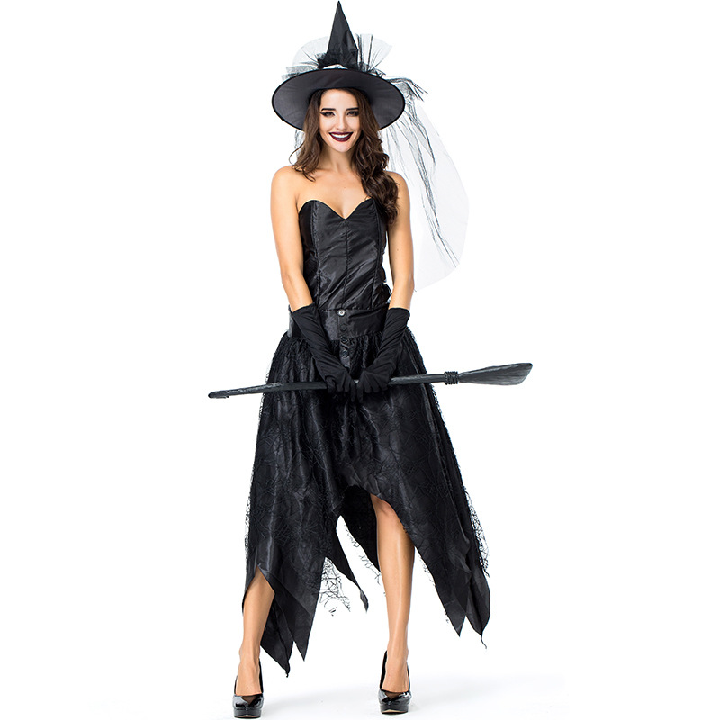 Black Strapless Witch Dress Women Halloween Role Play Witch Mesh Patchwork Party Dresses Women Cosplay Customers Dress+Cap+Glove