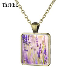 TAFREE Lavender Square Pendant Necklace Charming Attractive Antique Bronze Plated Statement Necklaces Couple Lovers Jewelry YC04(China)