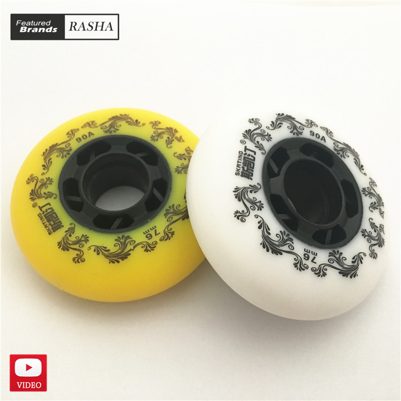 FREE Shipping 90A Inline Roller Skate Slides Wheels Skateboard Wheels White Yellow Pink Blue Freestyle 72 76 80 Mm 8 Pieces/lot(China)